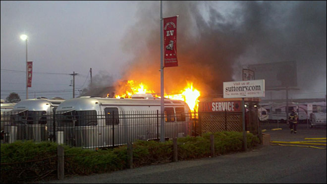 Suspicious fire burns building at RV dealership