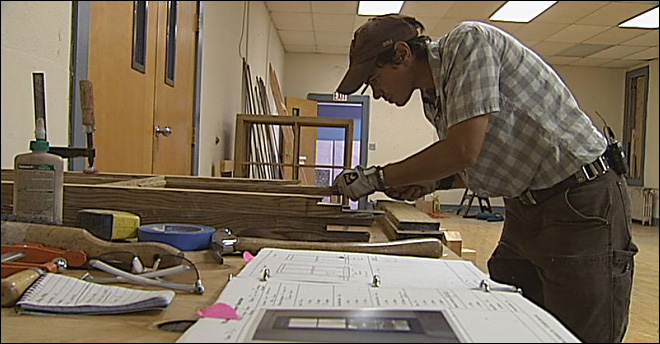 Historic windows at Cottage Grove Armory restored by hand