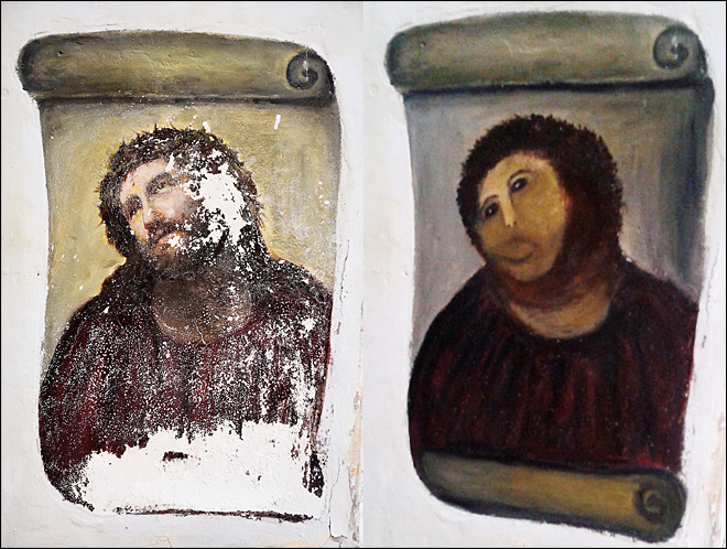 Disfigured Spain fresco rides global fame