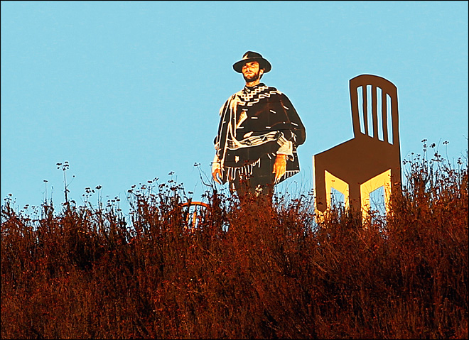 Chairs placed by Eastwood cutout on Calif. trail