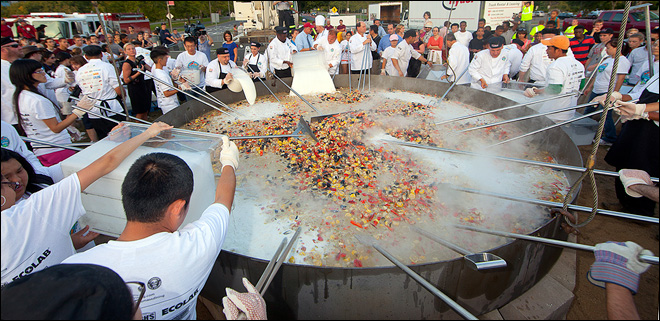 UMass students nosh on 6,700-pound seafood stew