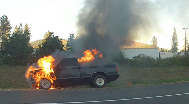 Police: Drunk driver's truck catches fire