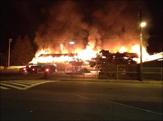 Officials say blaze at Montesano High School is suspicious