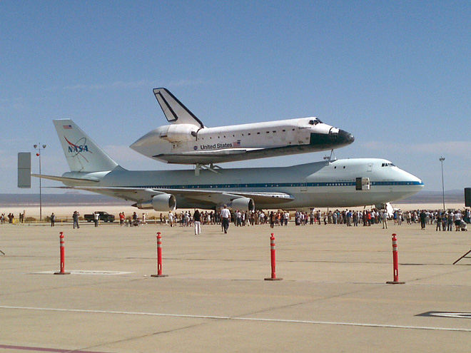 Space shuttle in California