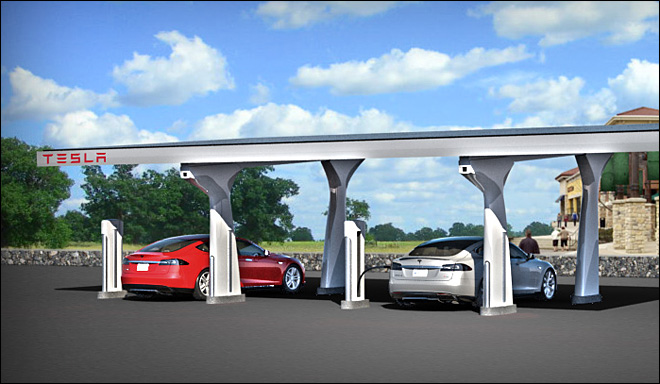 Tesla unveils faster electric car charging station