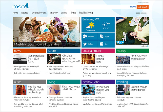 Microsoft unveils touch-sensitive redesign of MSN