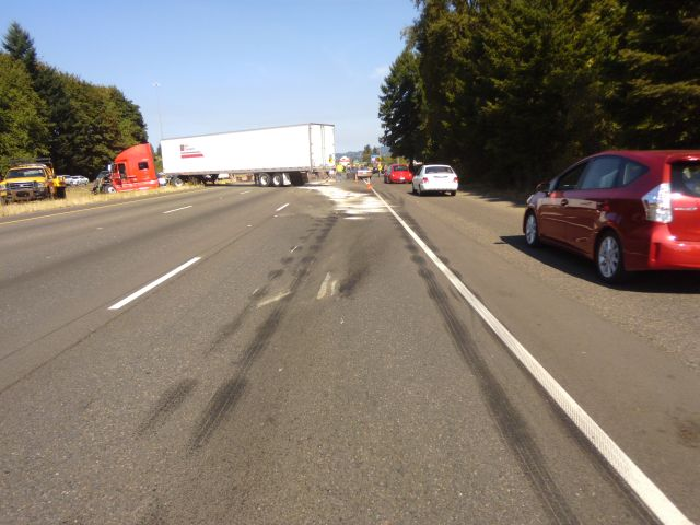 Crash spills 300 gallons of sewer waste onto I-5