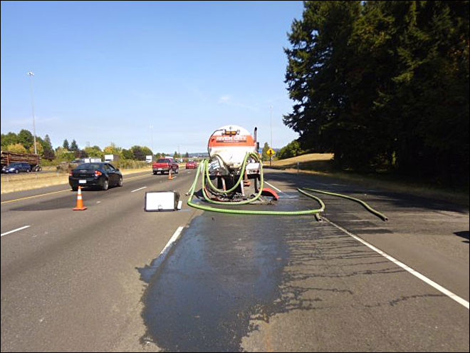 Crash spills 300 gallons of sewage onto I-5