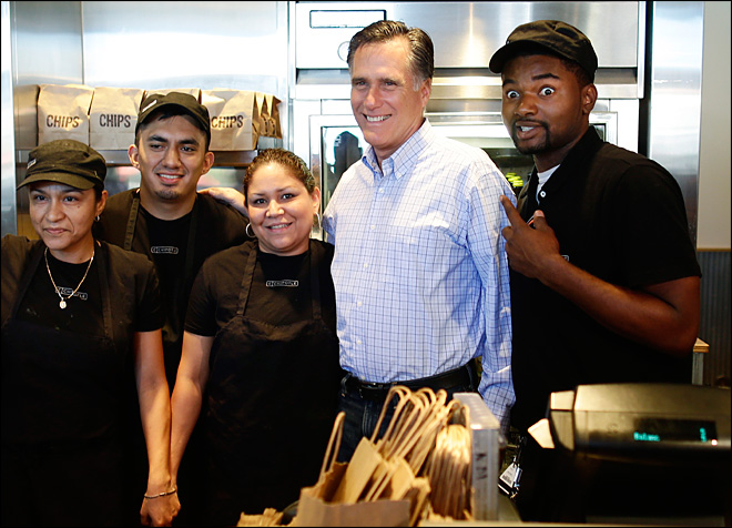 Photo of wide-eyed Chipotle worker, Romney goes viral