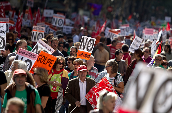 Anti-austerity protests grip 56 Spanish cities