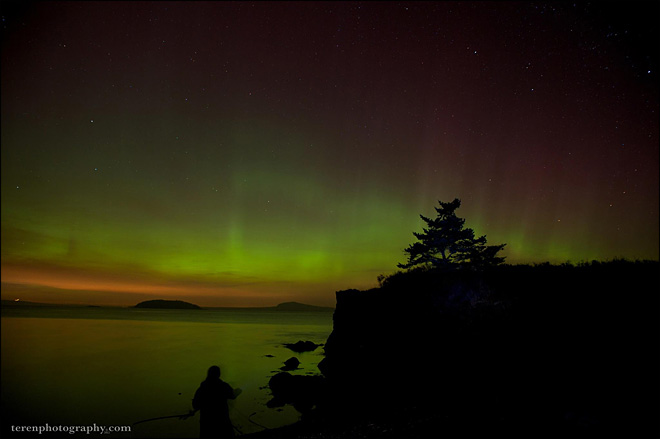 Northern Lighs over San Juan Islands