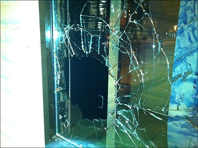 Four banks vandalized by mob in Portland