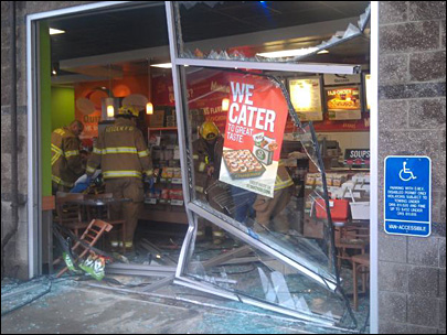 Eugene couple injured when car crashes into sub shop