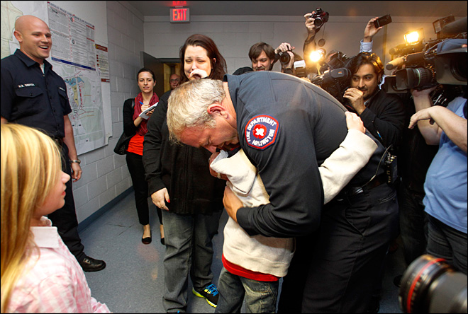 Abandoned boy meets Texas fireman who saved him