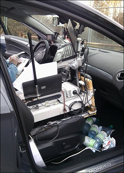 Police nab driver with entire mobile office jammed into car