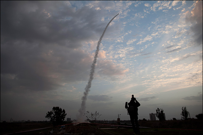 Israel bombards Gaza Strip, shoots down rocket
