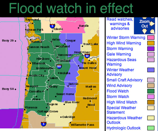 Flood watch in effect for the Willamette Valley