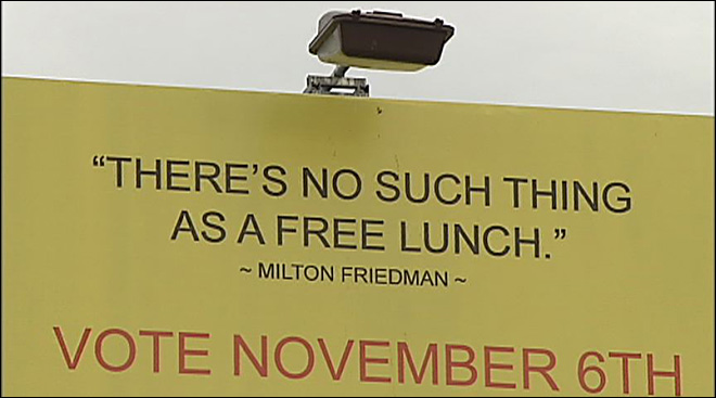 Billboard mix-up: 'no free lunch' in front of Eugene Mission