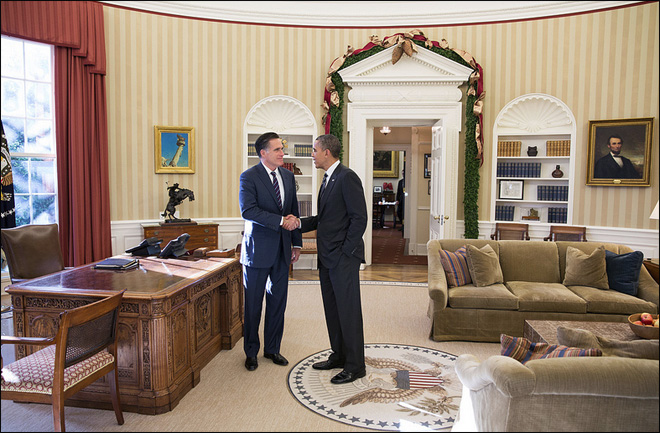 Obama and Romney together: Chili, not chilly