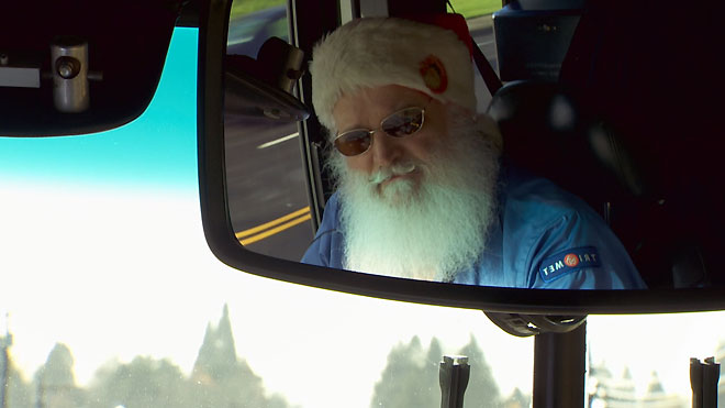 Bus-driving Santa in Portland