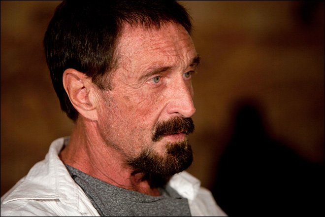 McAfee pops up in Portland, says he is going to stay
