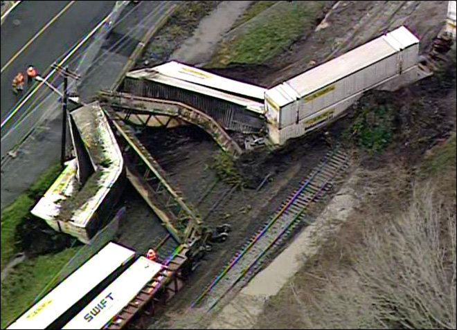 Caught on camera: Mudslide derails train