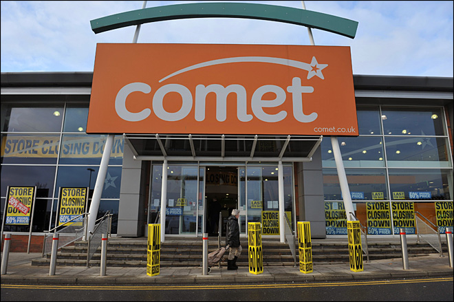 UK retailer Comet shutting down, 6,900 jobs lost
