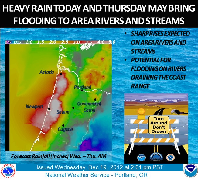 Heavy rain and threat of flooding