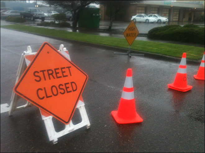 Streets closed due to flooding