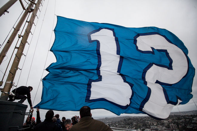 12th Man Flag atop the Space Needle