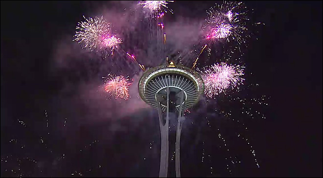 Watch: New Year's fireworks at the Space Needle