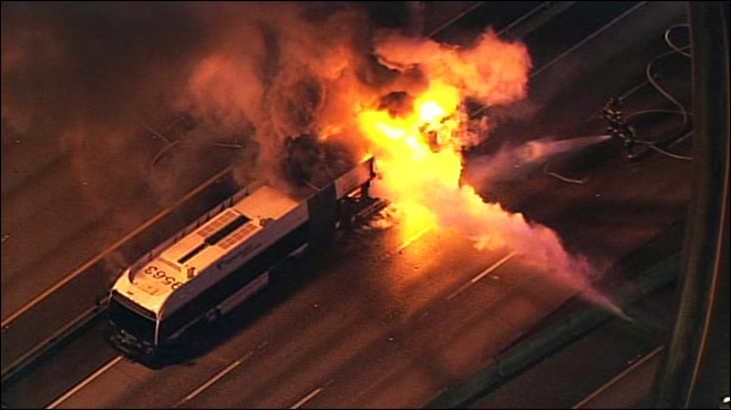 Sound Transit bus bursts into flames on I-5 express lanes