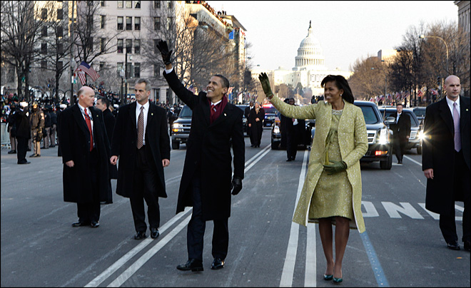 Presidential strut is now iconic inaugural moment