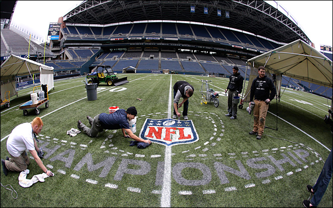 Photos: Workers spruce up CenturyLink field for big game