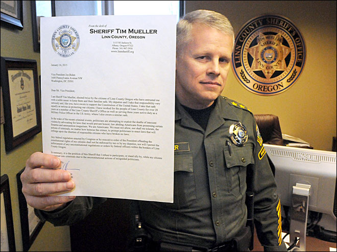 Oregon sheriff to VP: I won&#39;t enforce any new gun laws
