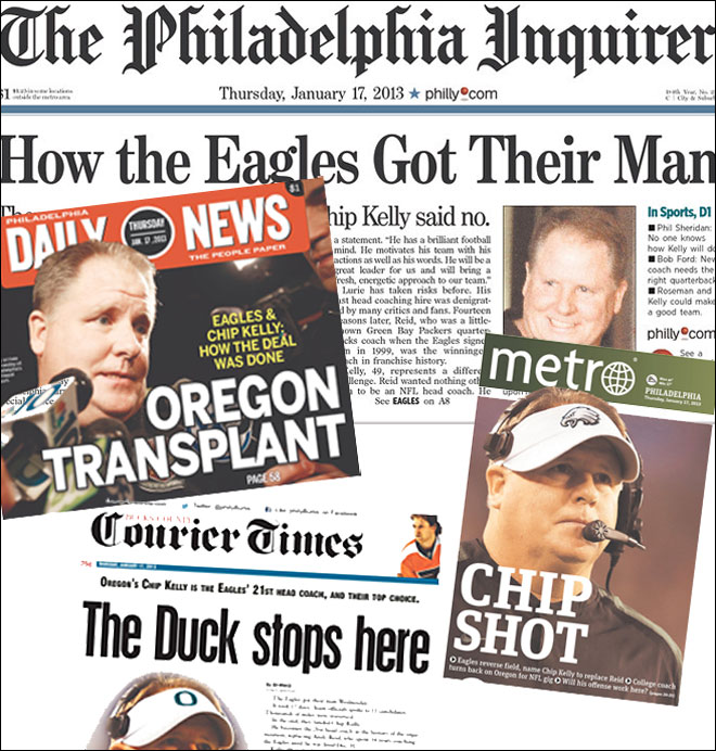 Chip Kelly meets Philly press as Eagles head coach