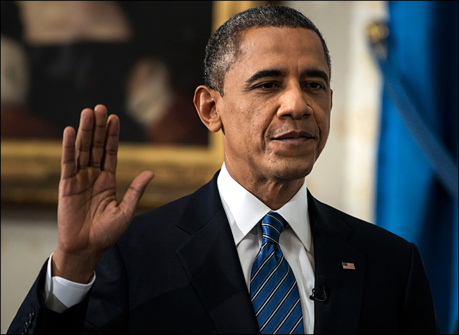 Obama sworn in for 4 more years in intimate ceremony