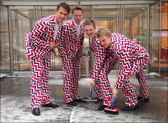 Norway's curlers to show off funky pants in Sochi