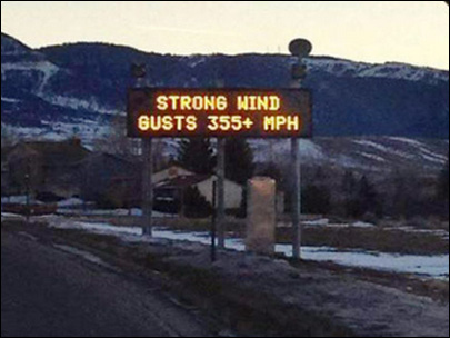 Gust gaffe: Wyoming road sign warns 355 mph wind