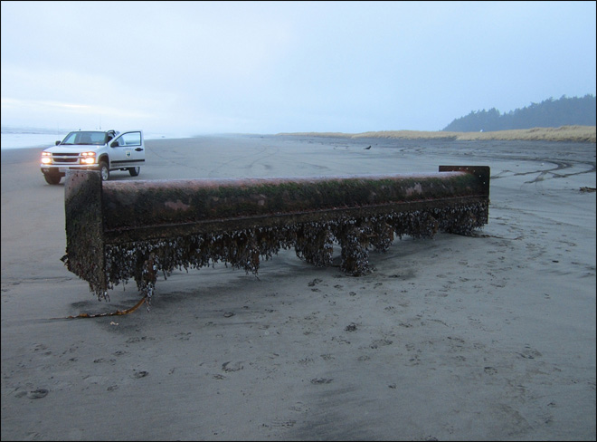 Is it tsunami debris? Large pipe washes ashore on NW coast