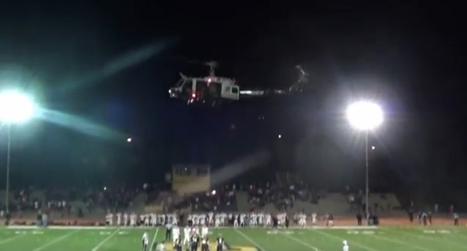 Officials eye use of state helicopter at football game