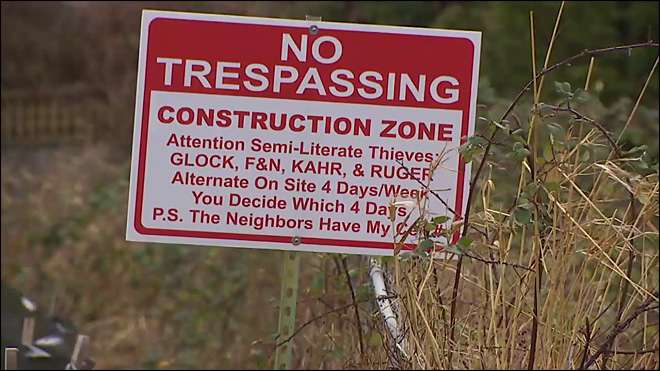 'It's a legal sign on private property that does not violate any laws'