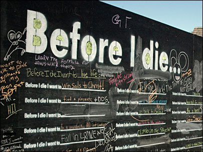 'Before I Die': Art project draws out life's yearnings from public