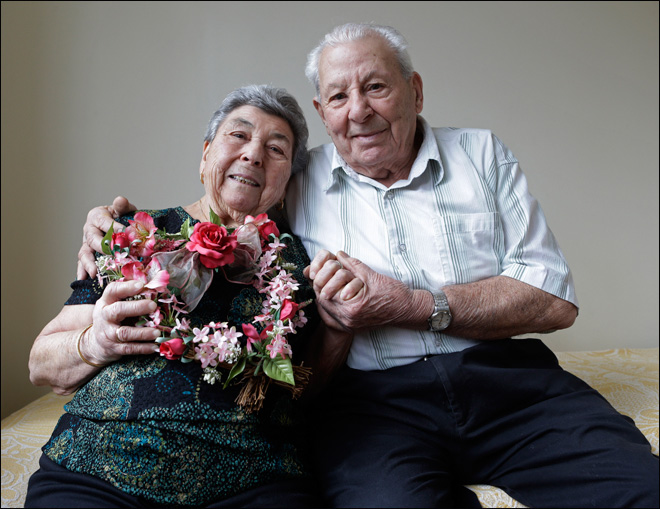 'Her eyes were like diamonds': Long-married couples celebrate love