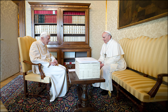 "Pope Francis tells Benedict: ""We're brothers"""