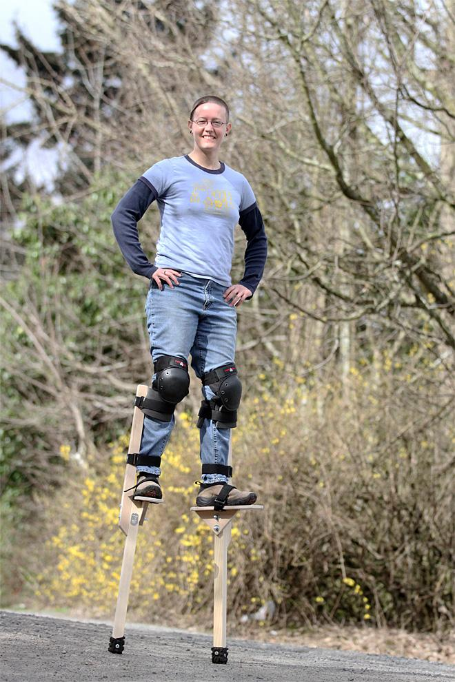 Oregon woman walking tall with stilts business