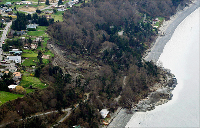 Homes evacuated after major landslide on Whidbey Island