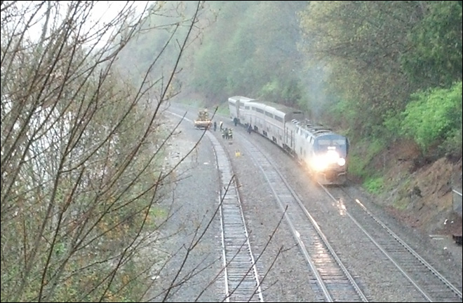 Amtrak train hit by landslide