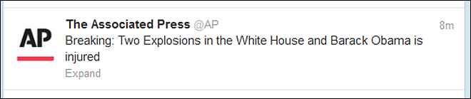 AP Twitter account hacked; false news tweets sent
