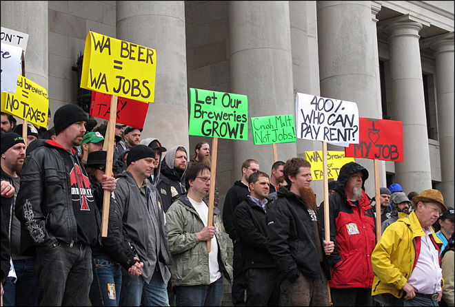 Brewers pour into Olympia to protest proposed beer tax
